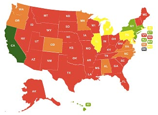 The red states are the states with the least restrictive firearms controls, according to the Brady Campaign.