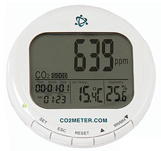 Carbon dioxide (pictured) and monoxide meters are an important safety precaution if you plan on having any type of fires indoors.