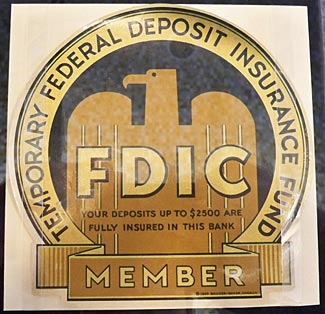 The original and 'temporary' FDIC logo' from 1934.