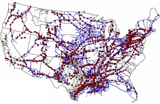 The red dots are pumping stations on our national gas pipelines.  The Chinese military may now have the capability to destroy a thousand of these simultaneously through only a few computer keystrokes.
