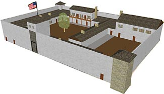 A computer reconstruction of the 19th century Fort Laramie, WY.  Do the 'wild west' forts validate or invalidate the concept of defending your retreat?