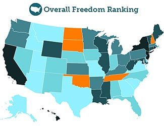 A very detailed new survey maps states by their Freedom Ranking.