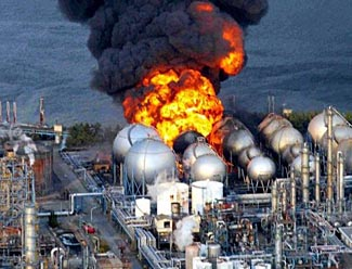 A spectacular fire at the Fukushima Daiichi Power Plant in March 2011.