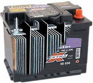 A cutaway view of a typical lead-acid battery.