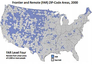 A yes/no categorization of regions by zip code into frontier or non-frontier regions, proposed by the National Center for Frontier Communities.