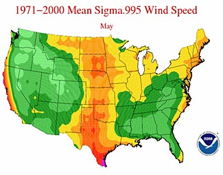 A NOAA map showing average wind speeds for the month of May.