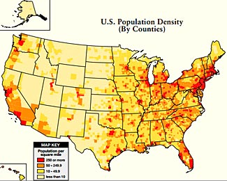 A classic map of population density, but much too simplistic to be used to help you determine the rural nature of a retreat location.