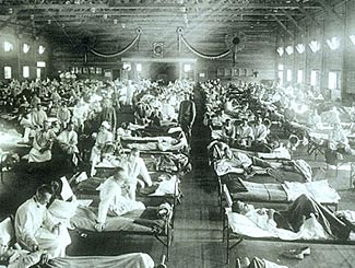 Chaotic scenes in emergency warehouse hospitals during the 1918-20 Flu Pandemic.
