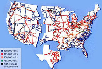 Our national power grid spans three interconnected regions.