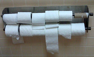 A bizarre approach to dispensing toilet paper.