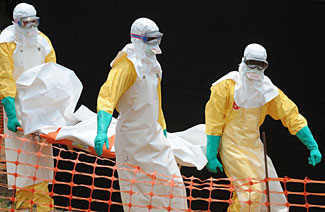 Pictures like this add to the shock and scare value of the present news about Ebola.