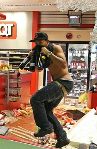 One quarter of the entire country believes this Ferguson looter is behaving appropriately.